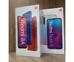 CELULAR XIAOMI REDMI 8A Y NOTE 8 64GB Y 128GB